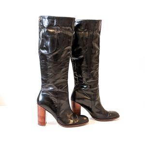 Ivanka Trump KAMILA Black Tall Leather Heeled Boot